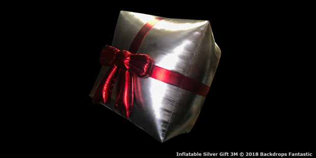 Inflatable Silver Gift Giant 3M with Red Bow and Ribbon|3 metre silver inflatable gift box
