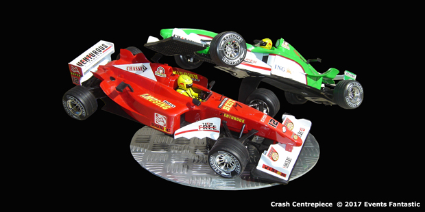 Champ Car crash centrepiece on metal base