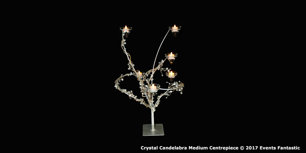 Medium crystal candelabra centrepiece with LED candles