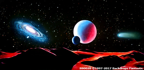 Deep Space Party Drop|Planets Moon Astroid and Galaxies viewed from a lunar surface backdrop