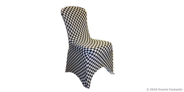 Black and white check lycra chair cover