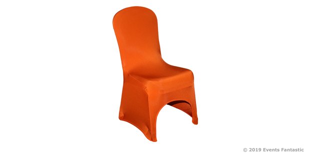 Orange Metallic Lycra Chair Cover Side View