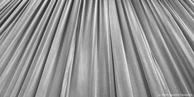 Silver Satin Drapes Looking Up