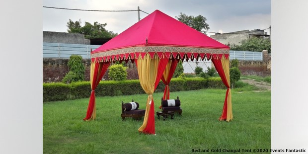 Red and Gold Chaupal Indian Tent on Grass